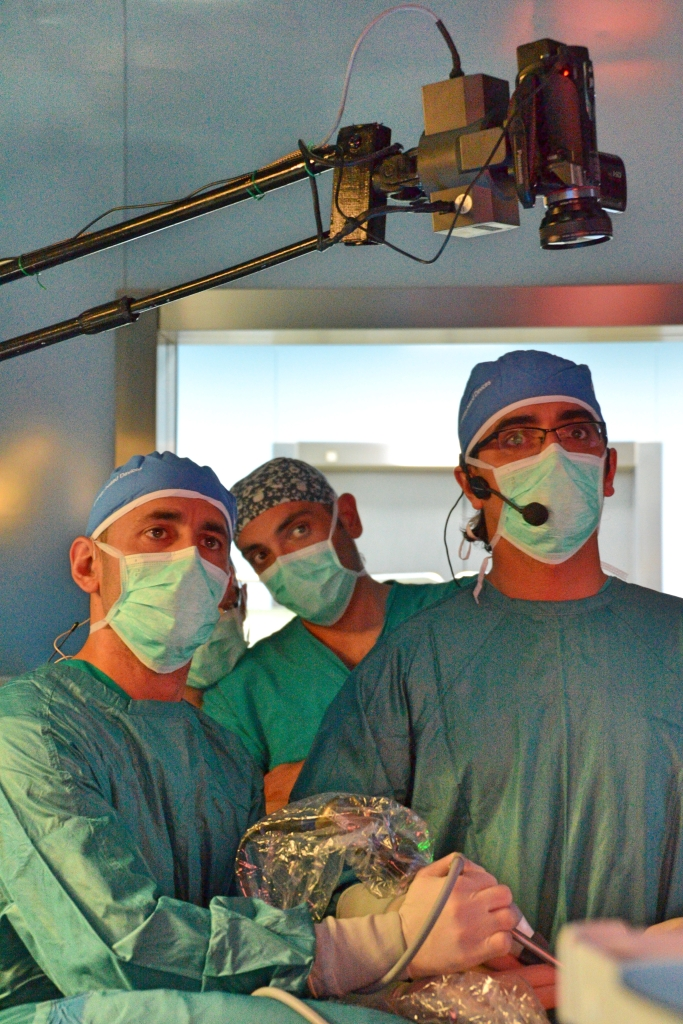 Dr. Gonzalez Rivas operating with Dr. Amore assisting.  Dr. Casazza looks on.